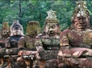 Statues line Angkor's causeways