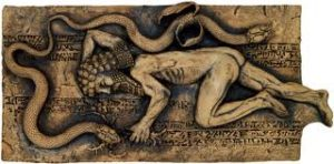 Snake, symboling Enki, snatches life-extension herb from Gilgamesh.